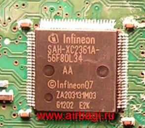 Процессор Infineon в блоке airbag KD45-57K30B